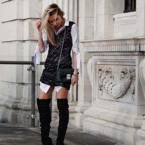 Walter Baker Pippa Black Sequined Dress SZ 0 NWT